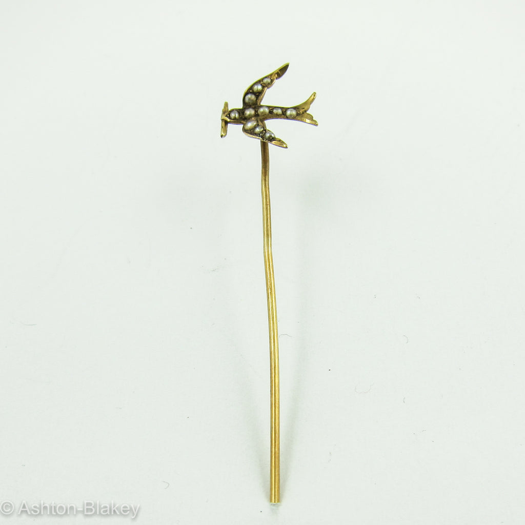 14K Gold Bird Stick Pin with Seed Pearls