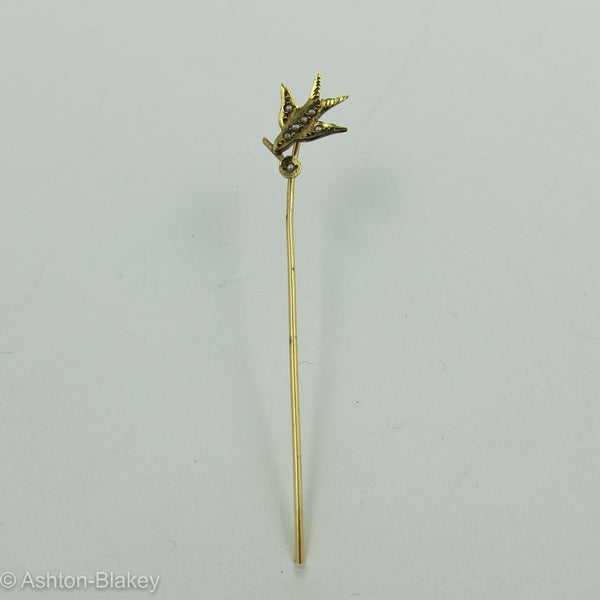 14k Gold Bird Stick Pin