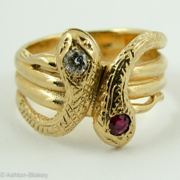 Vintage Mens Ladies 14k Double Snake Ring Ashton Blakey