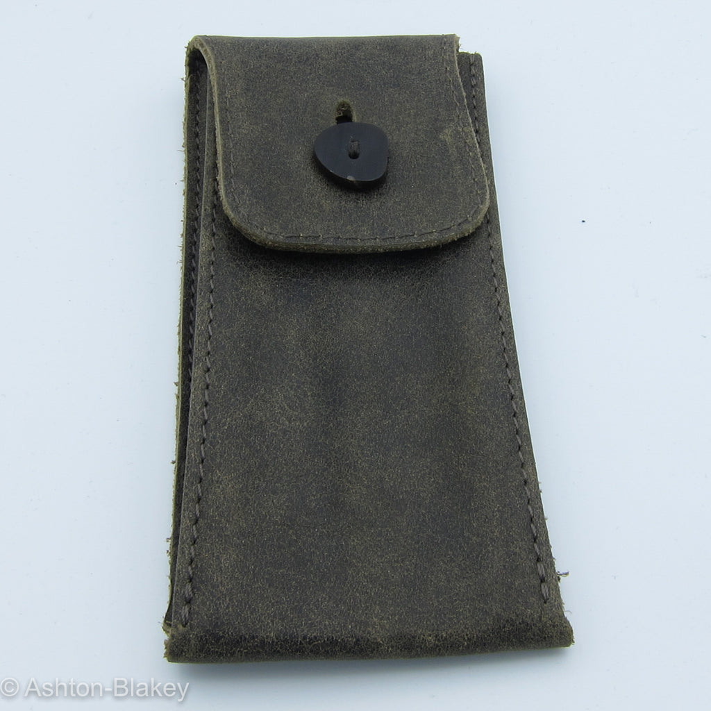 Hand Stitched Leather Pouch - Aged Moss  - Ashton-Blakey Vintage Watches