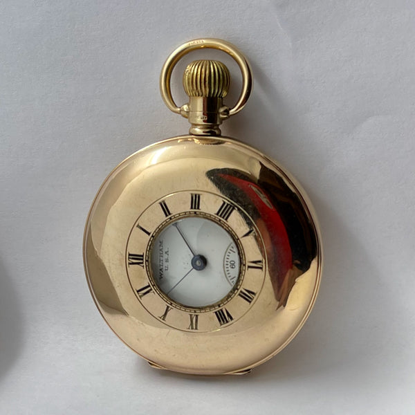 WALTHAM 9K Demi Hunter Pocket Watch