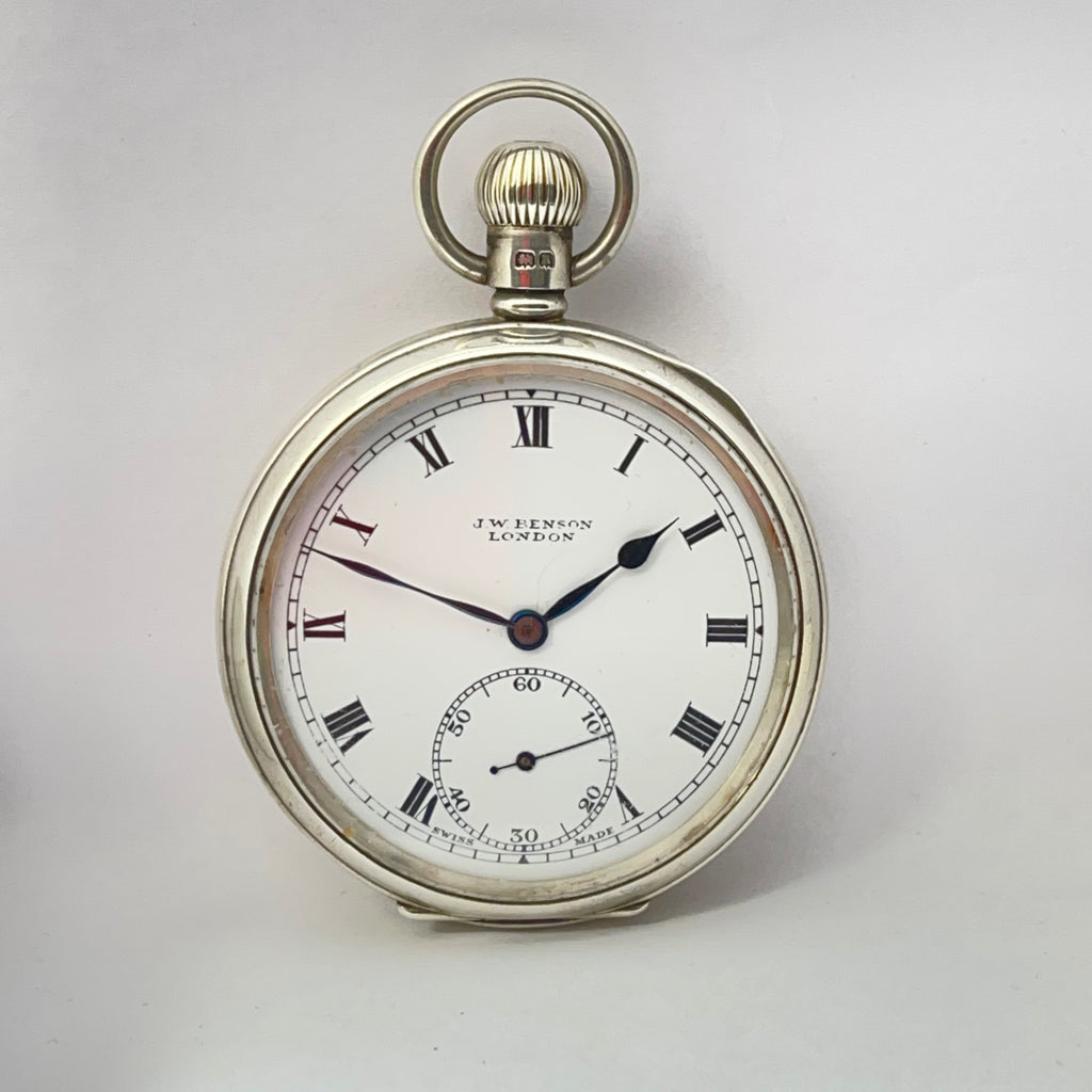 J W BENSON  Silver Pocket Watch