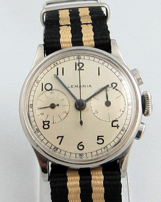 LEMANIA – CHRONOGRAPH – TWO BUTTON Military style Vintage Watch Vintage Watches - Ashton-Blakey Vintage Watches