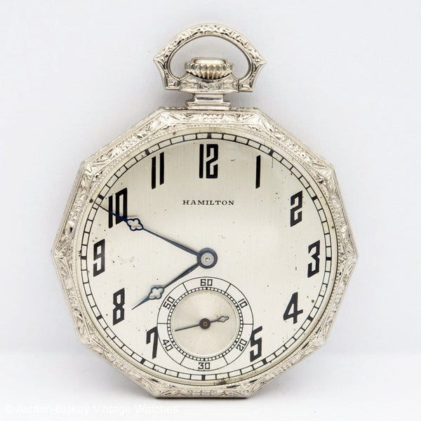 HAMILTON  14K white gold w/box Pocket Watches - Ashton-Blakey Vintage Watches