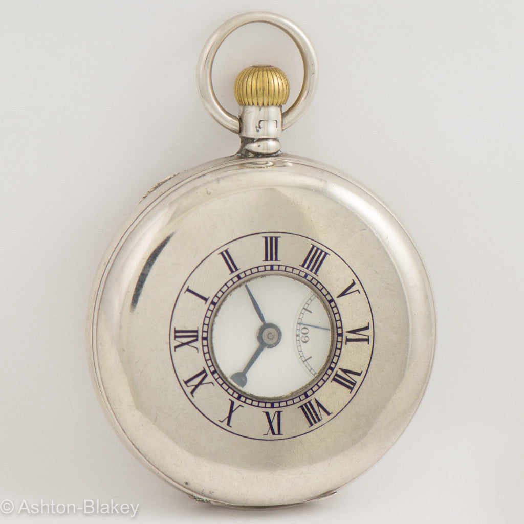 JW BENSON Silver demi-hunter Pocket Watch Pocket Watches - Ashton-Blakey Vintage Watches