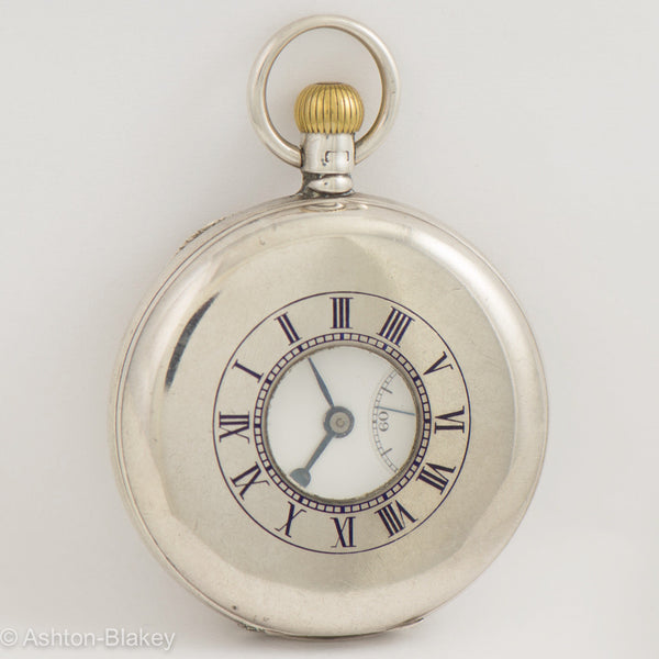 JW BENSON Silver demi-hunter Pocket Watch