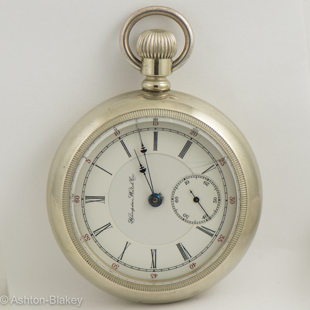 HAMPDEN DUEBER size 16 size lever set men's open faced very husky Pocket Watch