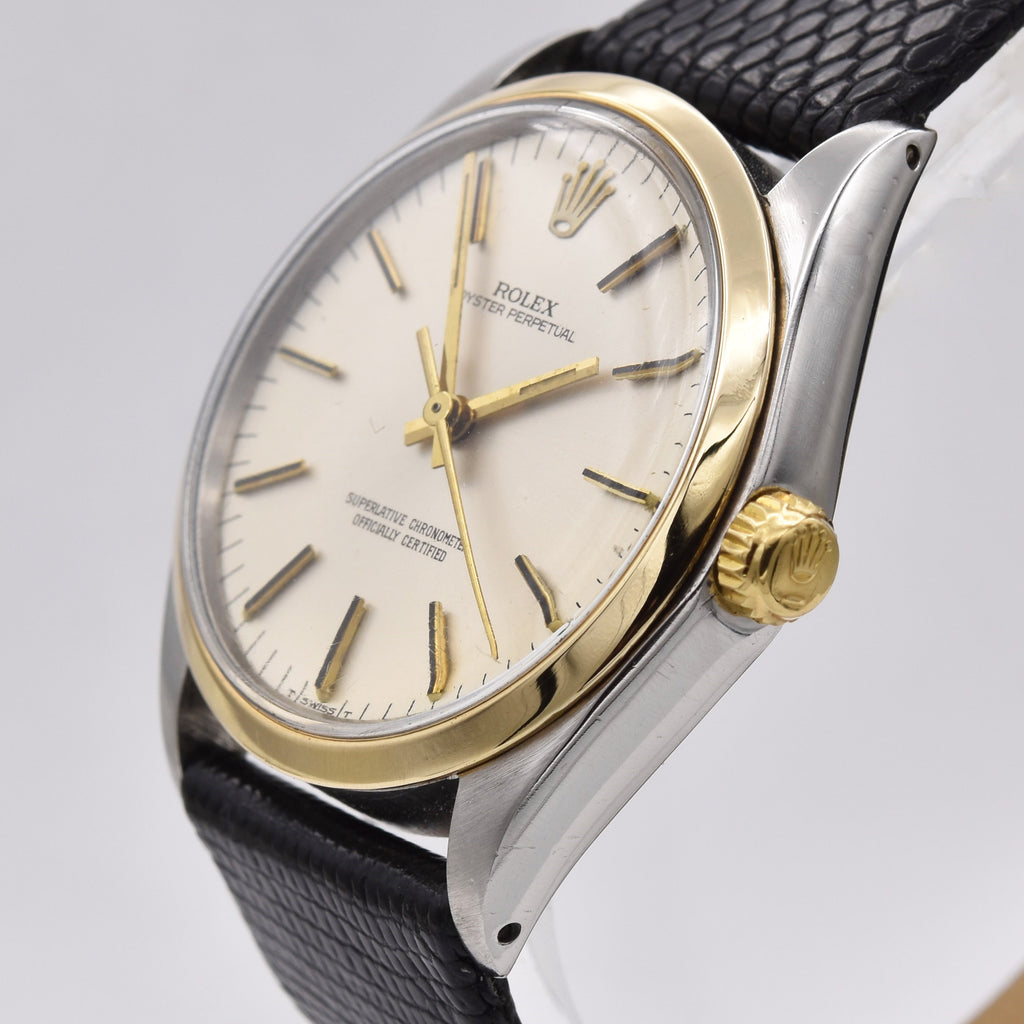 ROLEX OYSTER PERPETUAL STAINLESS WITH GOLD BEZEL Vintage Watches - Ashton-Blakey Vintage Watches