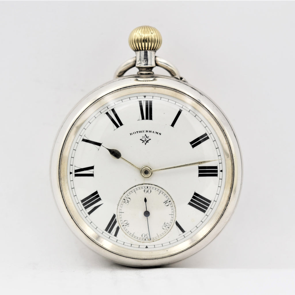 ROTHERHAMS Silver Pocket Watch Pocket Watches - Ashton-Blakey Vintage Watches