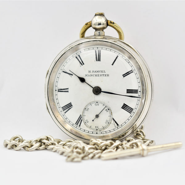 ENGLISH Sterling Silver Pocket Watch with Chain Pocket Watches - Ashton-Blakey Vintage Watches