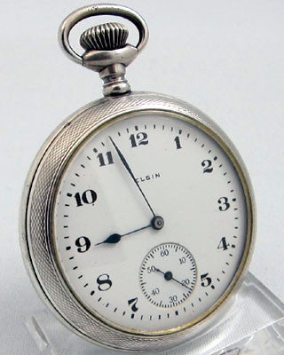 ELGIN 15 jewel coin SILVER open faced Pocket Watch