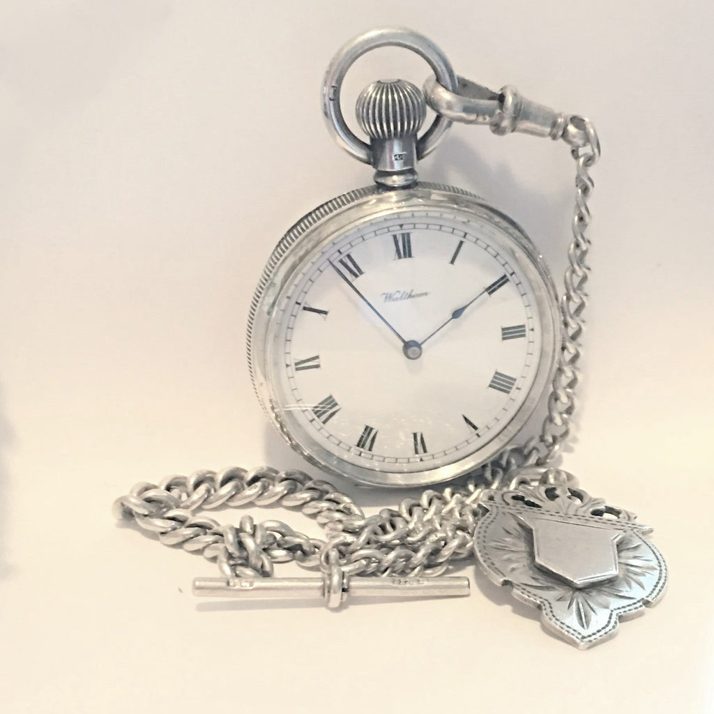WALTHAM Sterling Pocket Watch and Chain Pocket Watches - Ashton-Blakey Vintage Watches
