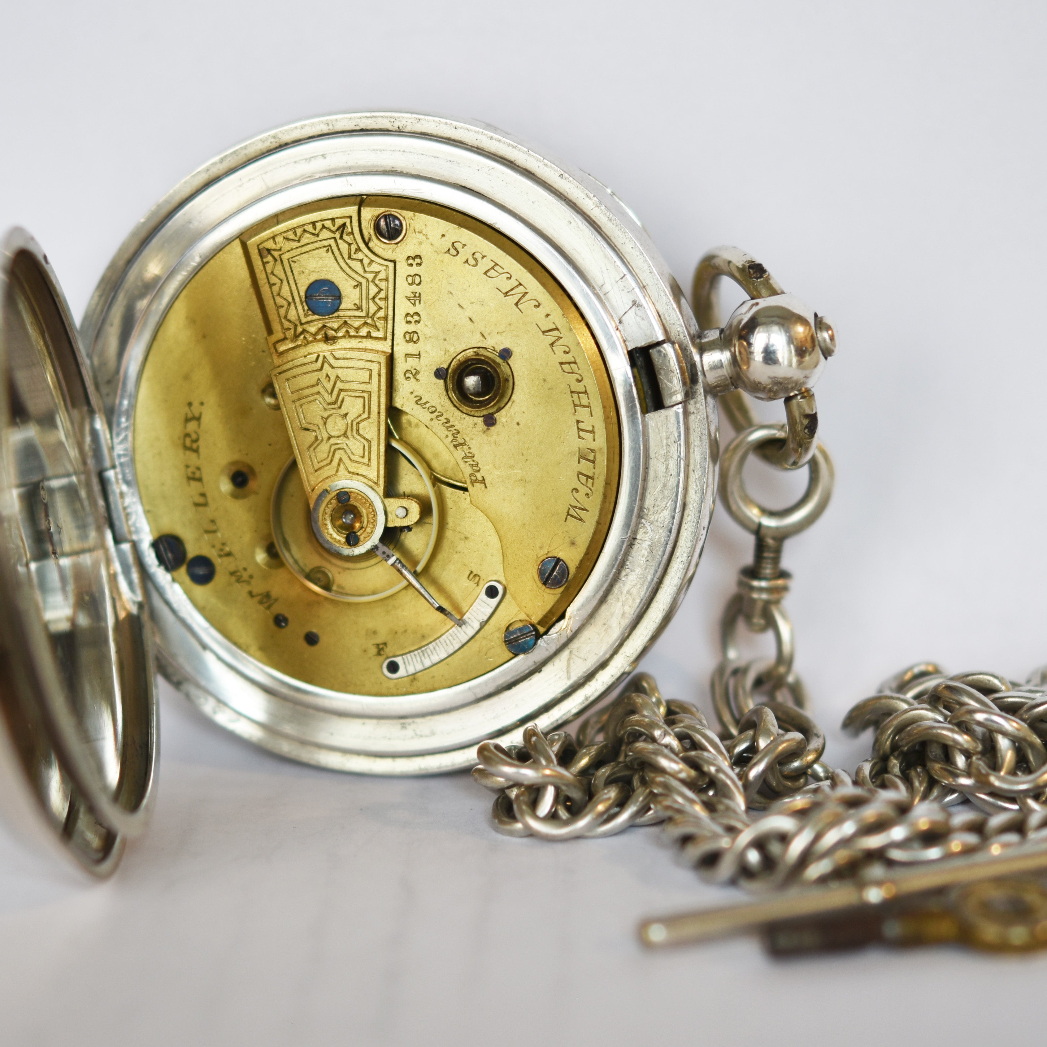 1501f09ff ... WALTHAM Silver Pocket Watch with Chain Pocket Watches - Ashton-Blakey  Vintage Watches ...