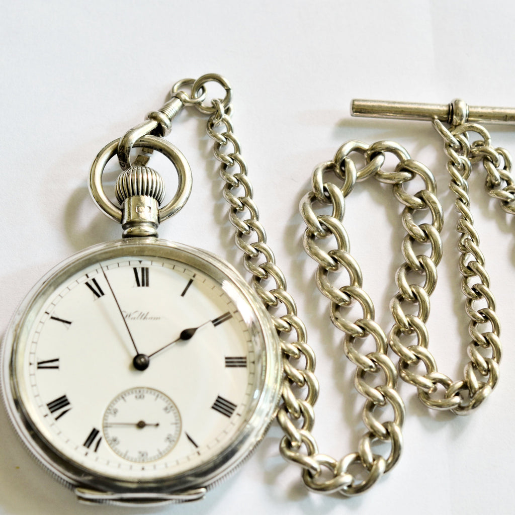 WALTHAM Sterling Silver Pocket Watch and Chain Pocket Watches - Ashton-Blakey Vintage Watches