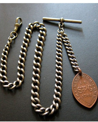 English Sterling silver English Pocket Watch chain Jewelry - Ashton-Blakey Vintage Watches