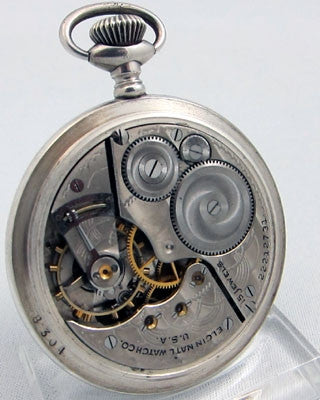 ELGIN 15 jewel coin SILVER open faced Pocket Watch Pocket Watches - Ashton-Blakey Vintage Watches