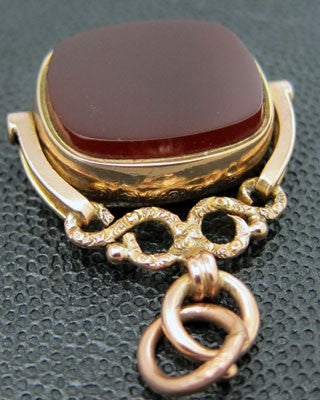 ENGLISH Beautiful 9K large and heavy rose gold spinner type fob Jewelry - Ashton-Blakey Vintage Watches
