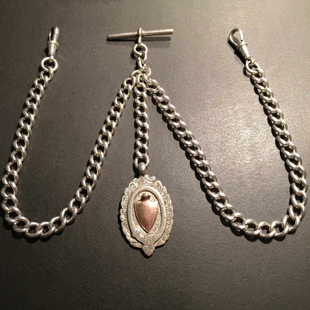 English Silver Double Albert Pocket Watch Chain  and Fob