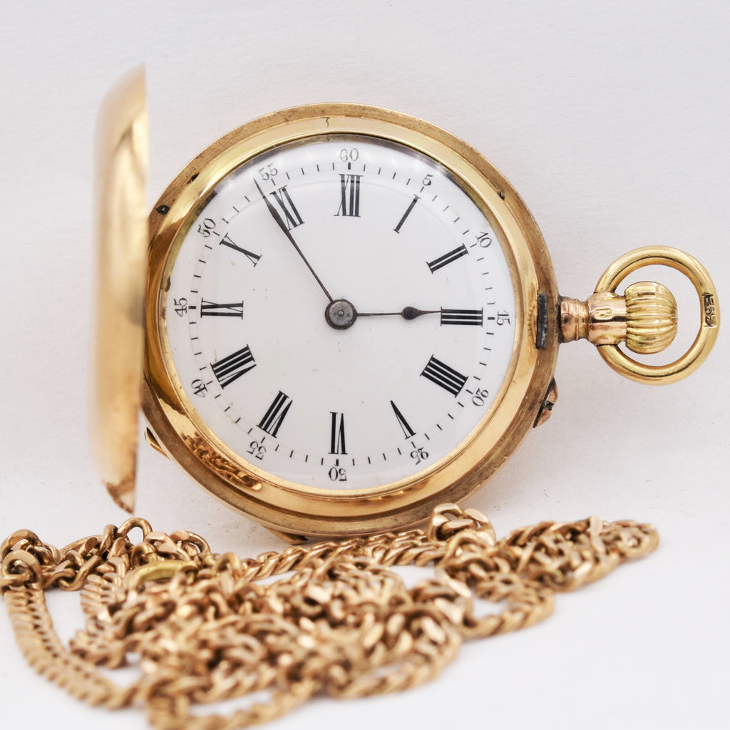 SWISS 14K GOLD LADY'S POCKET WATCH & CHAIN Pocket Watches - Ashton-Blakey Vintage Watches