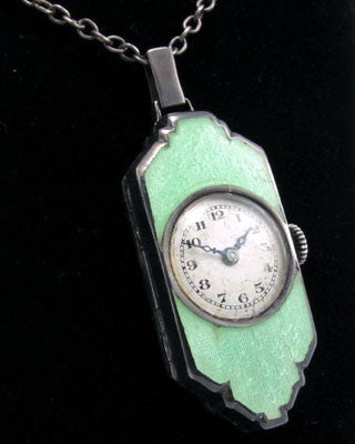 Art Deco enamel and sterling silver watch Jewelry - Ashton-Blakey Vintage Watches