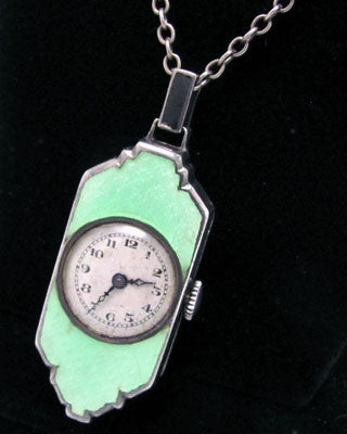 Art Deco enamel and sterling silver watch