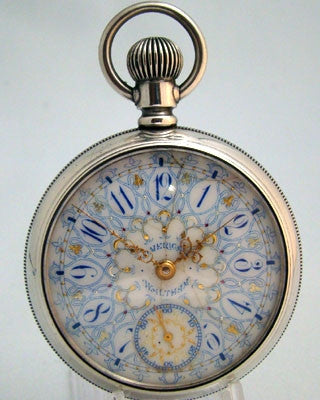 WALTHAM SILVER Multicolor Dial Men's open faced Pocket Watch
