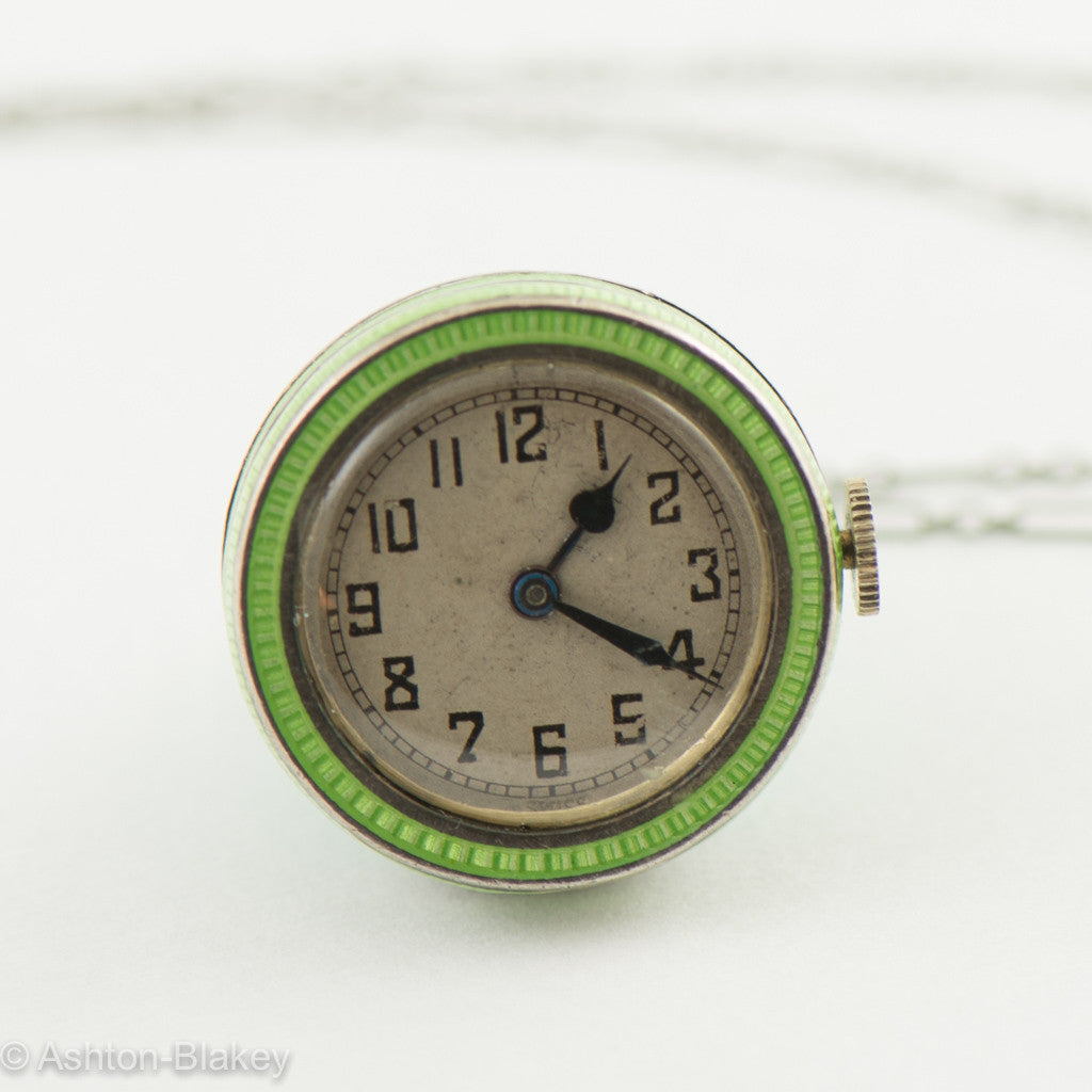 MIMO Enamel vintage watch on chain