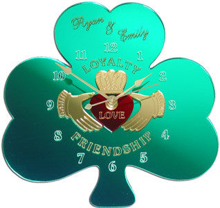 Claddagh Shamrock Clock