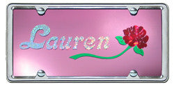 Custom License Plate with 1 Name and Rose