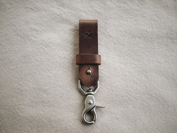 Leather Key Clip - Brown Sugar