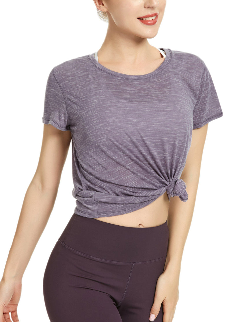 Women Yoga Sweat Times Short Sleeve T-shirt Loose Sports Tee Top - 8055-New Release