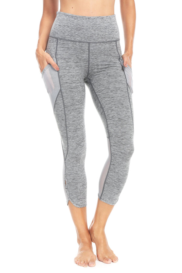 "Women 22"" Yoga Flex Mid-Waist 3 Pocket Running Pants Trousers Workout Tights Legging - Space Dye Grey"