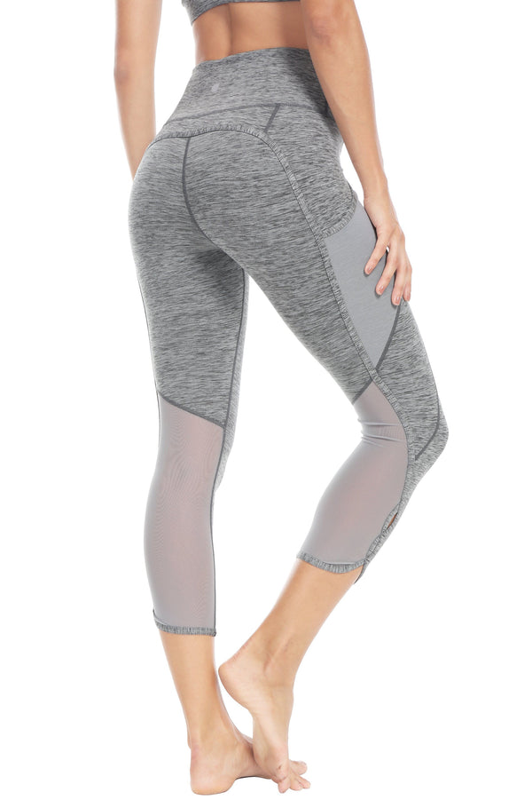 "Women 22"" Yoga Flex Mid-Waist 3 Pocket Running Pants Trousers Workout Tights Legging 70910 - Space Dye Grey"