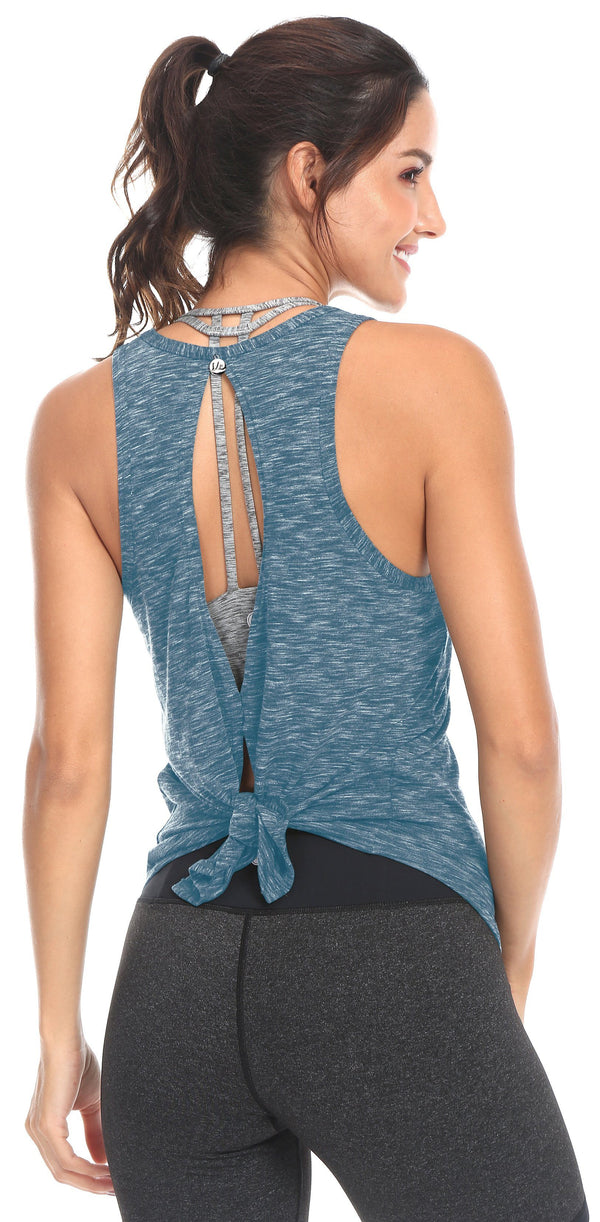 Women Yoga All Tied Up Shirts Open Back Sports Workout Tank