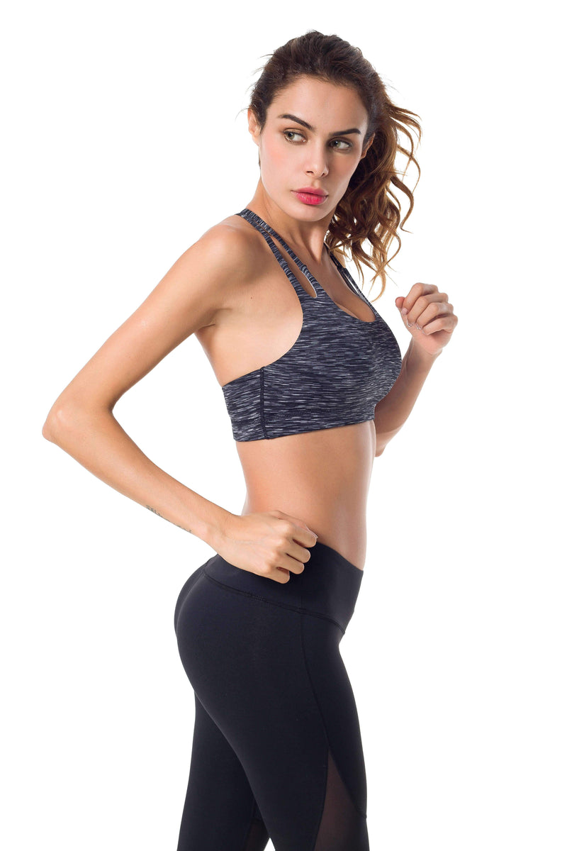 Womens Light Support Yoga padded Double T Back Sports Bra