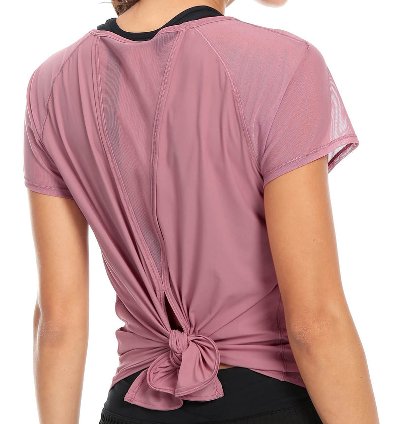 Women Yoga Tied Up Mix & Mesh Short Sleeve T-shirt Sports Tee