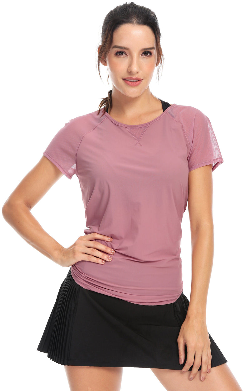 Women Yoga Tied Up Mix & Mesh Short Sleeve T-shirt Sports Tee - Queenie Ke