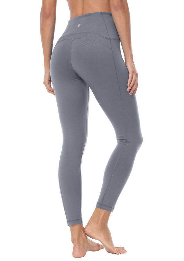 Women 25 Inches Yoga Leggings Sports Power Flex Mid-Waist Gym Running Tights - 70824 - Dark Grey