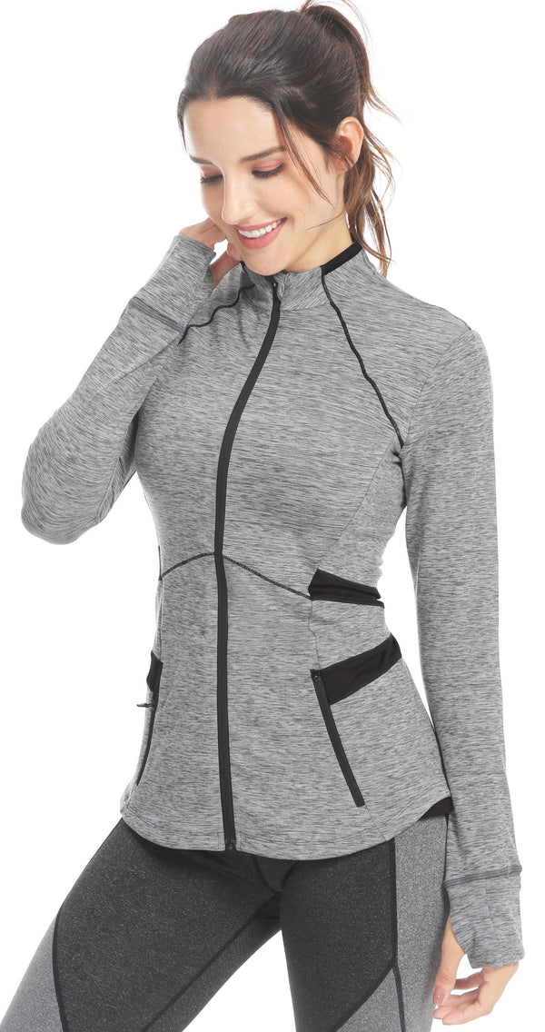 Womens Sports Slim Fit Full-Zip Running Phone Pockets Jacket - Queenie Ke
