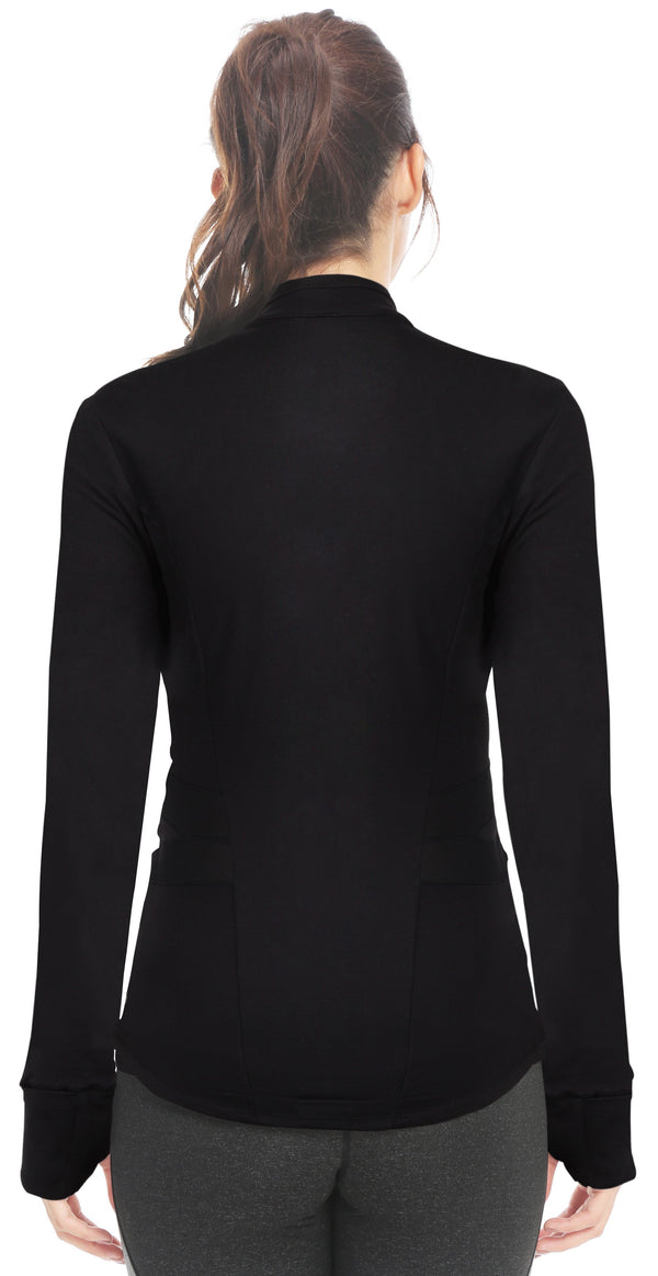 Womens Sports Jacket Slim Fit Full-Zip - Black - 8205