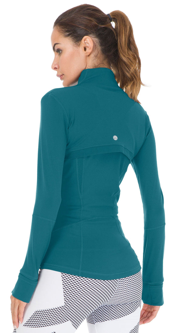 Women's Sports Define Jacket Slim Fit and Cottony-Soft Handfeel - Teal - 60927