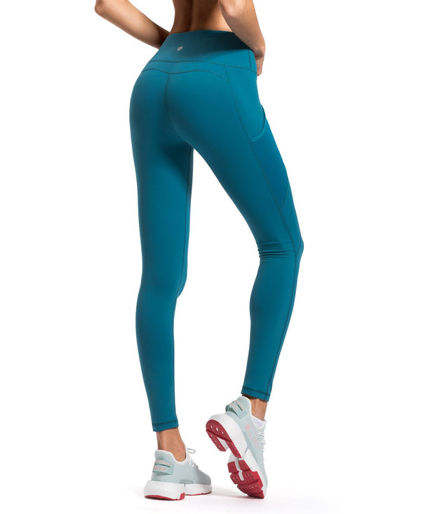 QUEENIEKE Women Yoga Leggings Mesh Mid Waist 3 Phone Pocket Gym Running Tights 60127B-NEW RELEASE