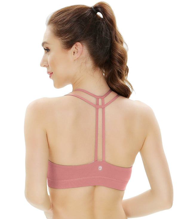 Women's Light Support Double-T Back Wirefree Pad Yoga Sports Bra - Begonia Pink - 16018