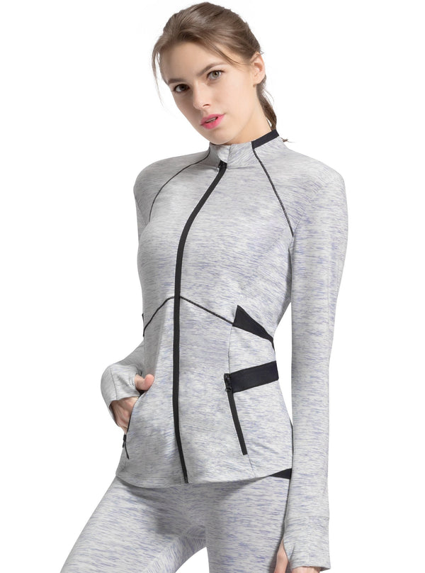Womens Sports Jacket Slim Fit Full-Zip - Space Dye White - 8205