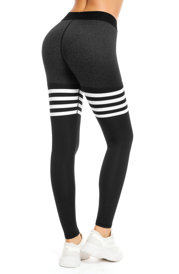 Women Yoga Leggings Knee-high Sock Pants Workout Running Tights - 8028B