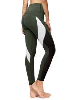 Women Yoga Pants Blocking Mesh Workout Color Running Leggings Tights 8030