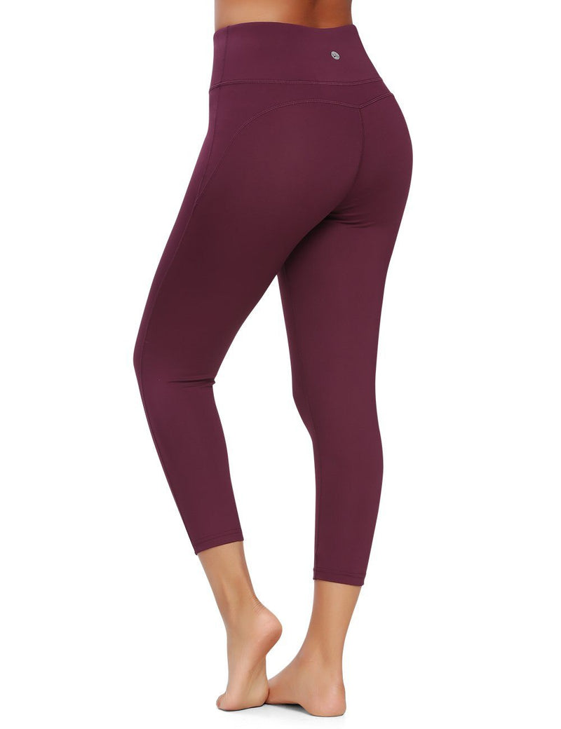 "Women 22"" Yoga Capris Power Flex Running Workout Tights Leggings 60128B"