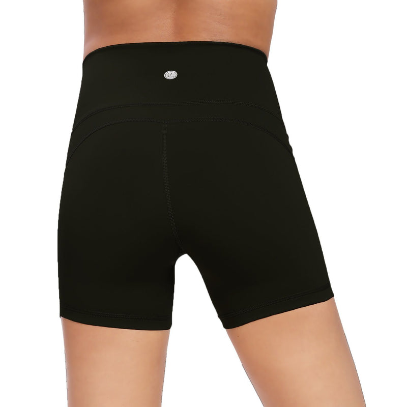 "Women 4.5"" Inseam Sports Shorts Mid-Waist Seamless Waisted Yoga Train Running Shorts 0611B"