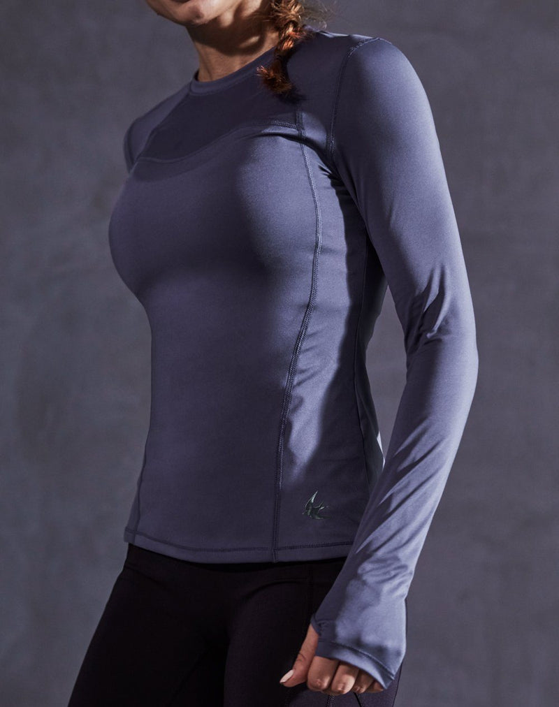 Women Long Sleeves T-Shirt Slim Fit Sports Yoga Tee Top - Grey Blue - 90312