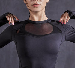 Women Long Sleeves T-Shirt Slim Fit Sports Yoga Tee Top - Black - 90312